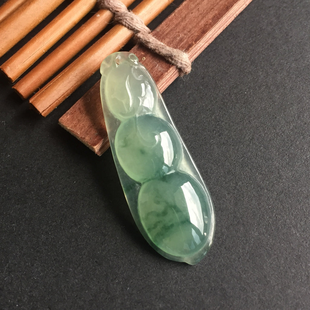 SOLD OUT: Icy A-Grade Type A Jadeite Jade Floral Pea-pod Pendant No.170056