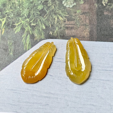 A-Grade Natural Yellow Jadeite Feather Earring Pair No.180295