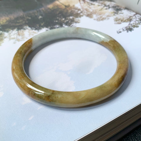 83.8mm A-Grade Natural White Yellow Jadeite Traditional Round Bangle No.151763