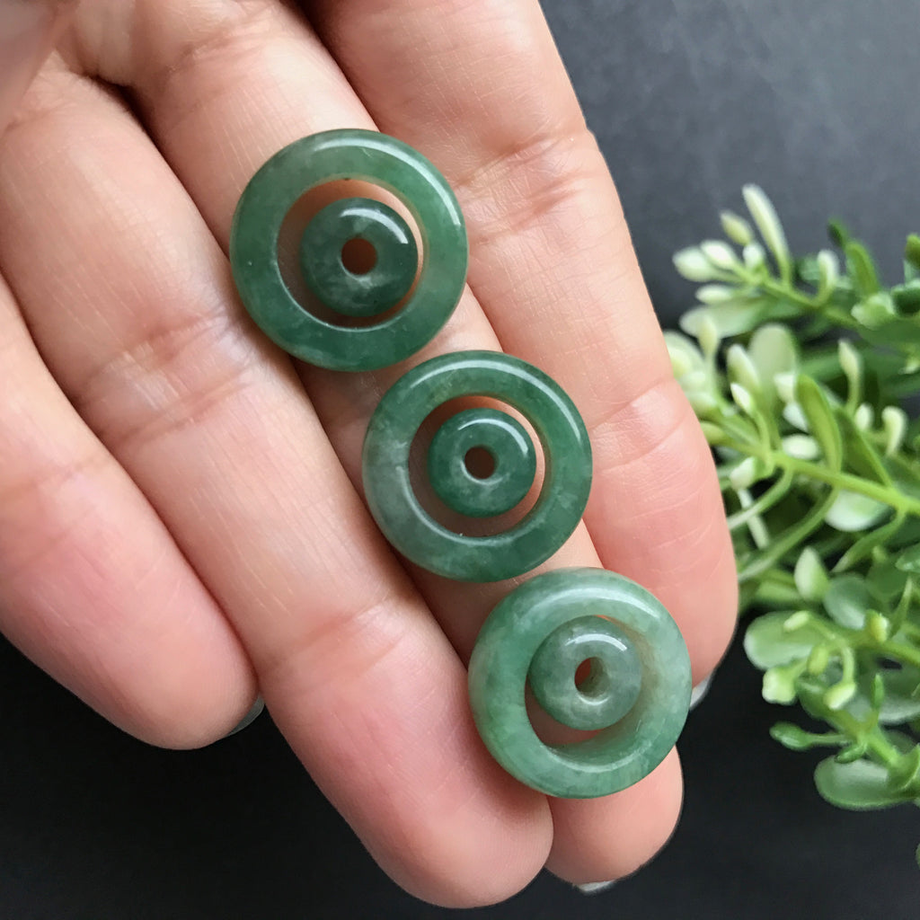 SOLD OUT: A-Grade Type A Natural Jadeite Jade Green Barrel Pair Pendant No.170151
