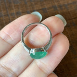 Icy A-Grade Natural Green Jadeite Oval Cabochon Ring (18k White Gold and Diamonds) No.161355