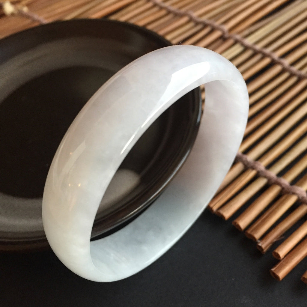 SOLD OUT: 52.5mm A-Grade Type A Jadeite Jade Modern Round Light Lavender Bangle No.151372