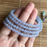 SOLD OUT: 5mm Icy A-Grade Type A Natural Lavender Jadeite Jade Beaded Bracelet/ Necklace No.190068