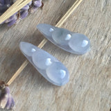 Icy Lavender A-Grade Type A Jadeite Jade Lavender Pea-pod Earrings No.180014