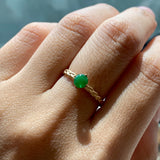 A-Grade Natural Jadeite Imperial Green Cabochon Bespoke Braid Ring (18k Champagne Gold) No.161341