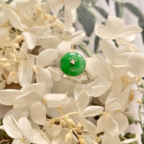 A-Grade Natural Green Jadeite Donut Bespoke Ring No.161973