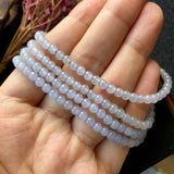 3.8mm A-Grade Type A Natural Lavender Jadeite Jade Beaded Necklace with Tassel No.190093