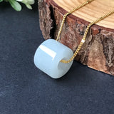 SOLD OUT: A-Grade Type A Natural White Jadeite Jade Barrel Pendant No.170155