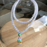 SOLD OUT: 5.5mm Icy A-Grade Type A Natural Lavender Jadeite Jade Beaded Bracelet/ Necklace No.190088