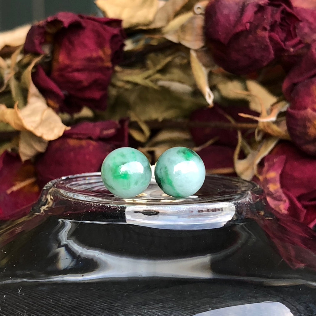 SOLD OUT: A-Grade Type A Natural Flora Green Jadeite Jade Sphere Ball Earrings No.180083