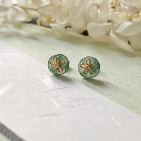 Icy A-Grade Natural Floral Jadeite Earring Stud (18k Gold and Diamonds) No.180295