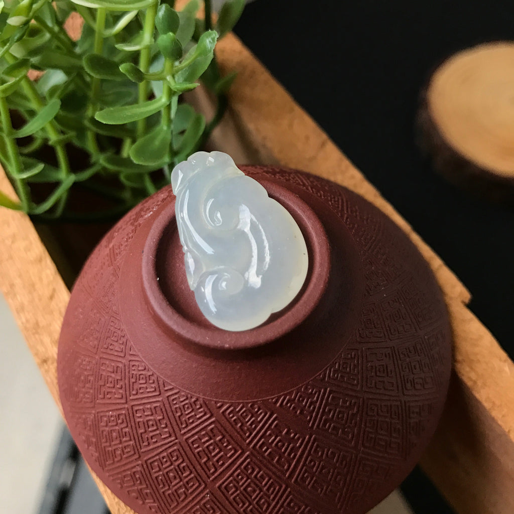 SOLD OUT: A-Grade Type A Natural Jadeite Jade White Ruyi Pendant No.170161