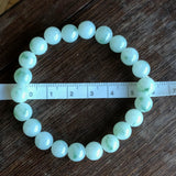 SOLD OUT: 8.7mm A-Grade Type A Natural Floral Green Jadeite Jade Beaded Bracelet No.190091