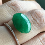 SOLD OUT: Green A-Grade Type A Natural Jadeite Jade Oval Cabochon Piece No.28021
