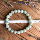 8.6mm A-Grade Type A Natural Floral Green Jadeite Jade Beaded Bracelet No.190090