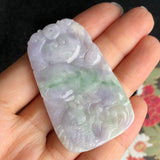 SOLD OUT: A-Grade Type A Natural Lavender and Green Jadeite Jade Lotus Leaf Koi Fish Pendant No.170457
