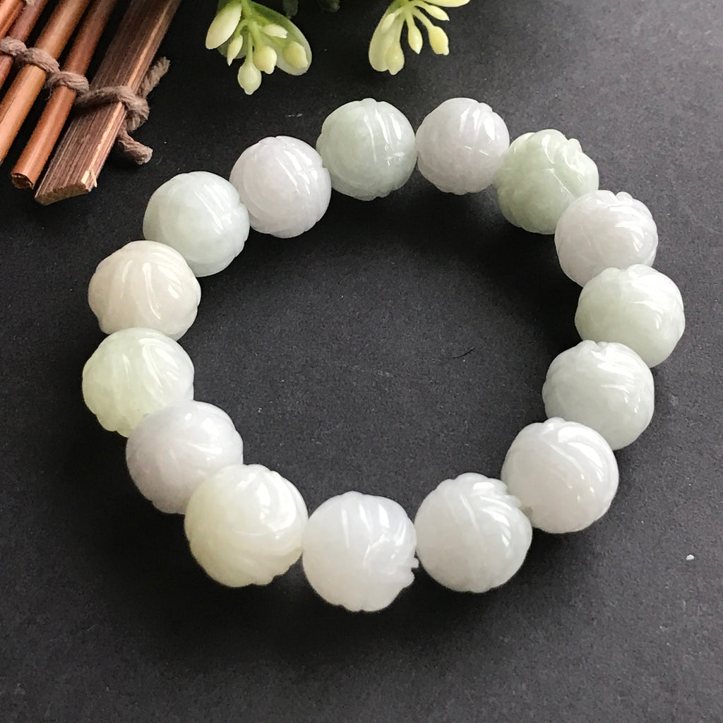 SOLD OUT: 12.5mm A-Grade Type A Natural Jadeite Jade Multi Colour Lotus Beaded Bracelet No.190014