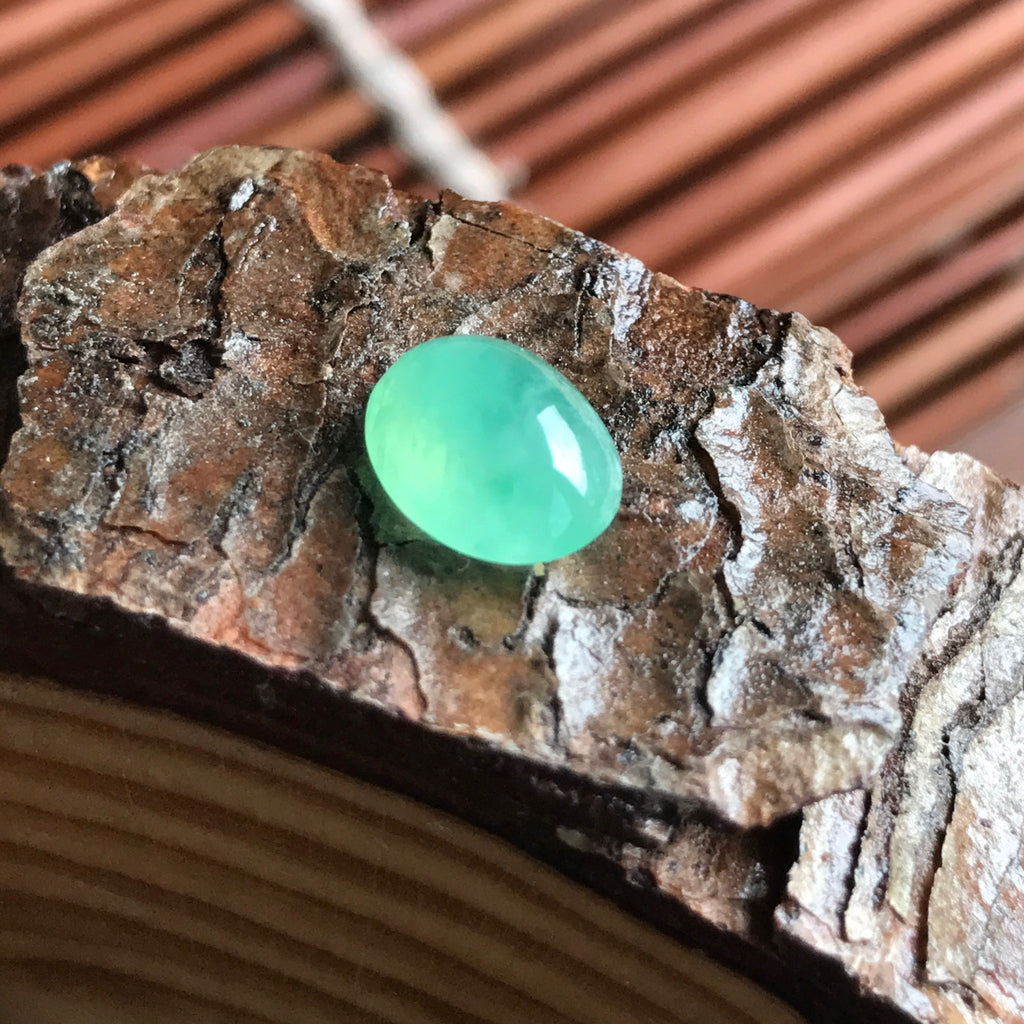 SOLD OUT: Icy A-Grade Type A Natural Jadeite Jade Green Oval Cabochon Piece No.25041
