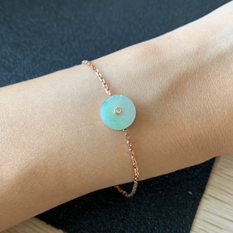 Icy A-Grade Natural Jadeite Donut Bespoke Bracelet (18k Rose Gold and Diamond) No.190174