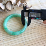 SOLD OUT: 53.7mm A-Grade Type A Natural Jadeite Jade Modern Round Bangle (Moss on Snow) No.220118