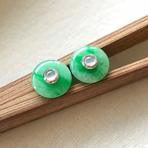 A-Grade Type A Natural Jadeite Jade Mini Donut Earrings (Moss on Snow) No.180084