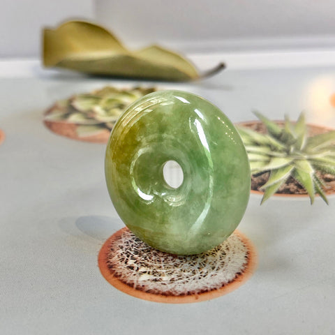 A-Grade Natural Green And Yellow Jadeite Donut Pendant No.220210