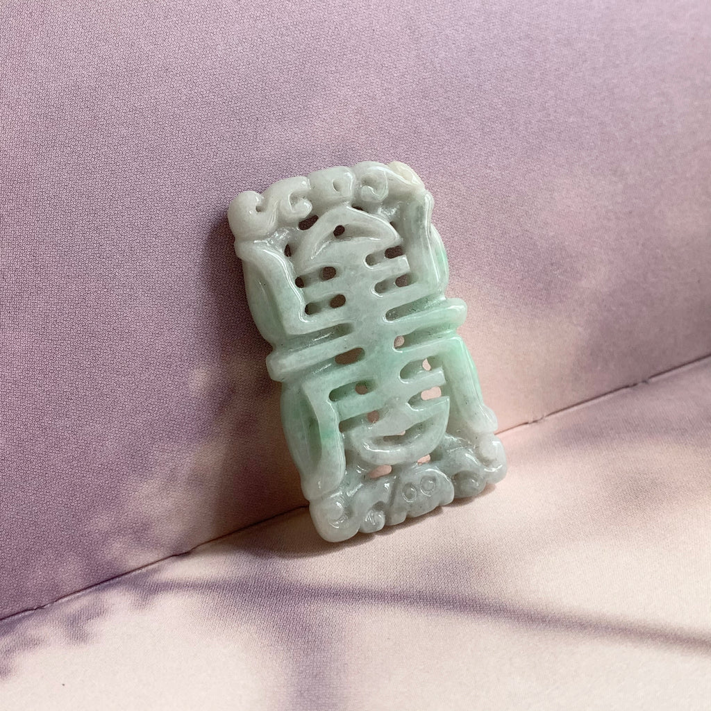 A-Grade Natural Moss on Snow Jadeite Pendant with Longevity Carving No.220138
