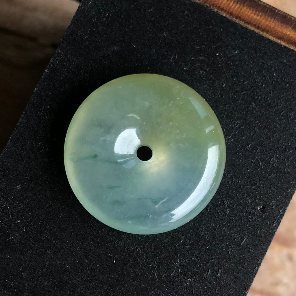 SOLD OUT: Icy A-Grade Type A Natural Floral Green and Yellow Jadeite Jade Donut Pendant No.170459
