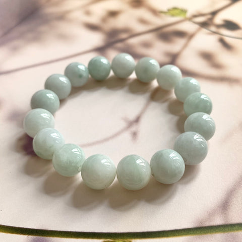 12.9mm A-Grade Natural Light Green Jadeite Beaded Bracelet No.190157