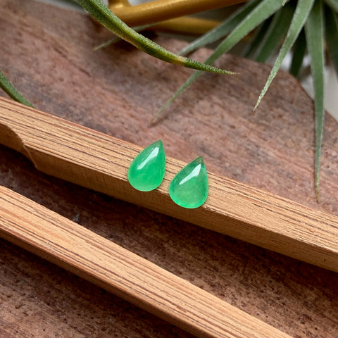 Icy A-Grade Natural Green Loose Jadeite Pear Set No.180113