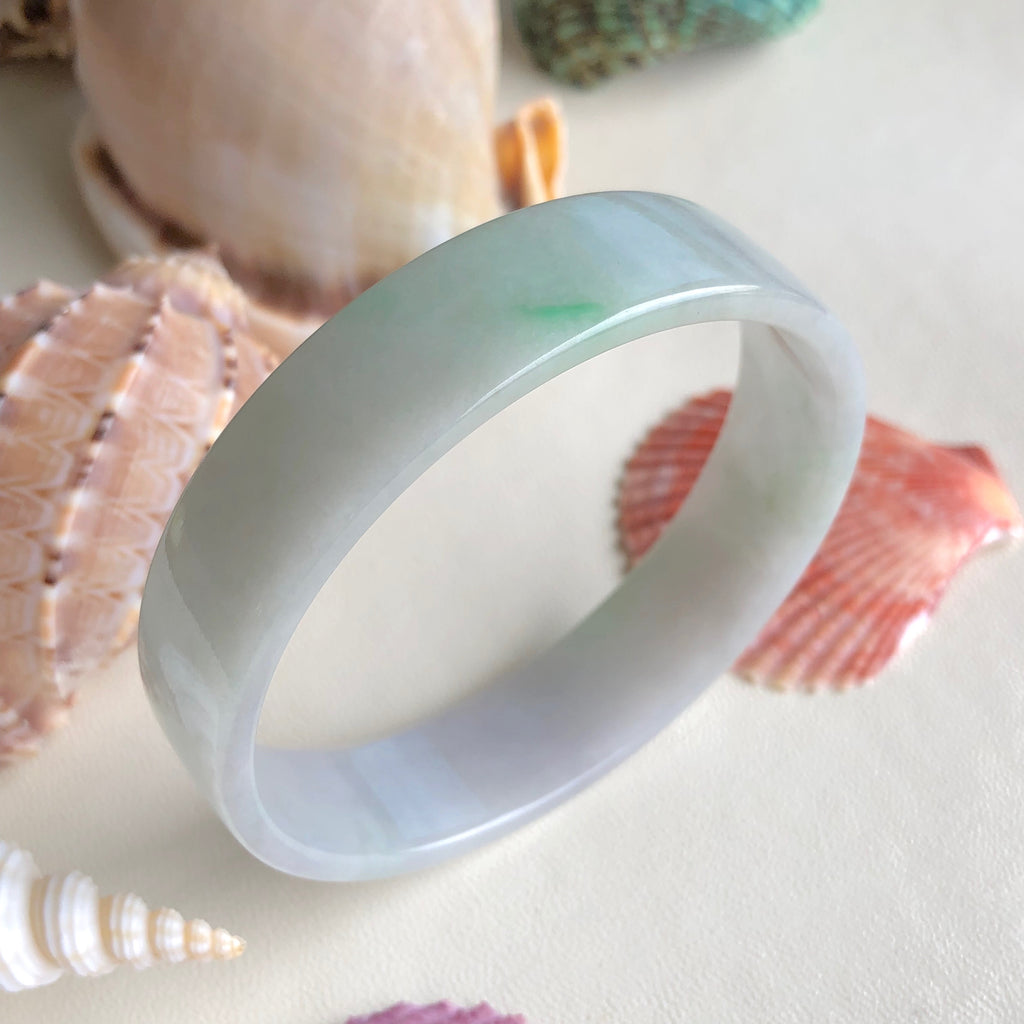 SOLD OUT: 52.8mm A-Grade Type A Natural Lavender Green Jadeite Jade Modern Round Bangle (Right-Angle) No.151479
