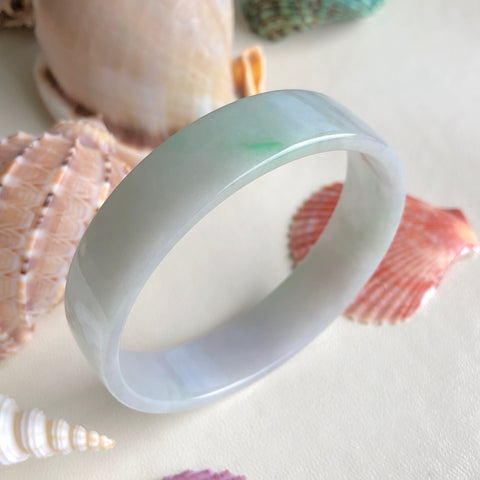 52.8mm A-Grade Type A Natural Lavender Green Jadeite Jade Modern Round Bangle (Right-Angle) No.151479