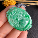 SOLD OUT: A-Grade Type A Natural Green Jadeite Jade Pendant with Multiple Carvings No.170461