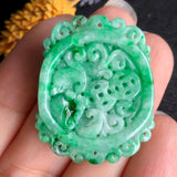 A-Grade Type A Natural Green Jadeite Jade Pendant with Multiple Carvings No.170462
