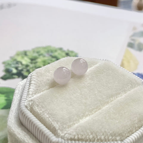 5.8mm A-Grade Natural Pink Jadeite Sphere Earring Pair No.180299