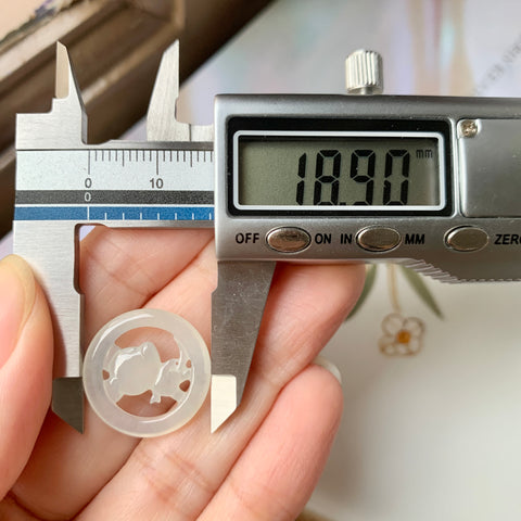 Icy A-Grade Type A Natural Floral Green Jadeite Jade Large Donut Pendant No.170464