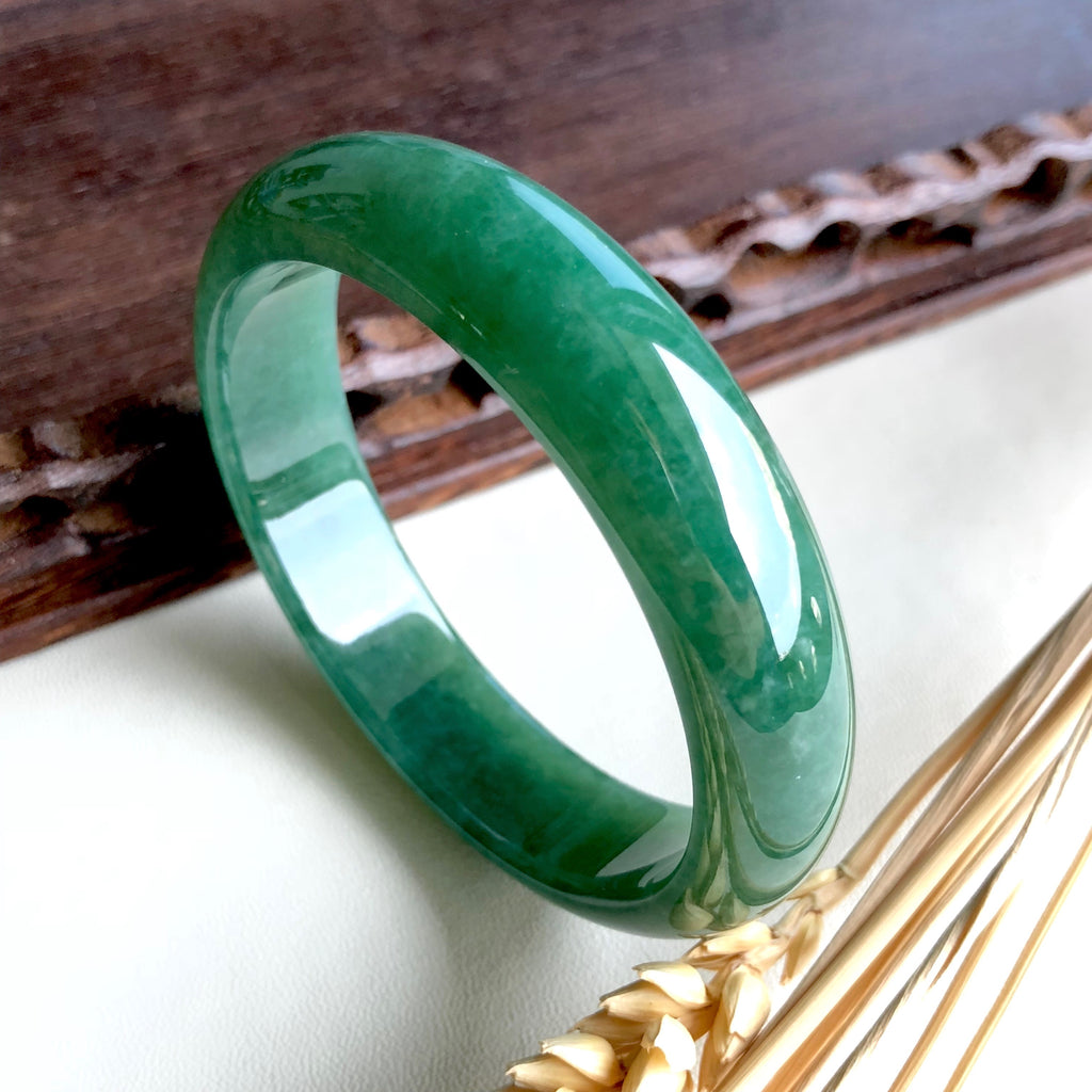 57.4mm A-Grade Type A Natural Jadeite Jade Modern Round Bangle (Collector's Item) No.151481