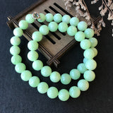 12.7mm A-Grade Natural Lime Green Jadeite Beaded Necklace No.190176