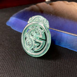 Icy A-Grade Natural Bluish Green Jadeite Pendant With Dragon Carvings No.171279