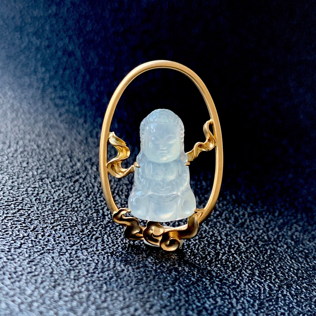 Icy A-Grade Natural Jadeite Buddha Pendant (18k Champagne Gold) No.170621