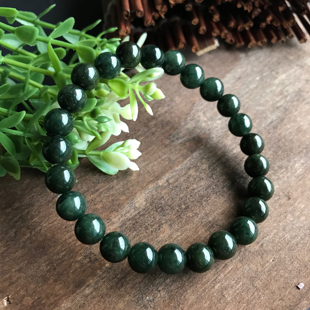 Completely new SOLD OUT: 7.5mm A-Grade Type A Natural Dark Green Jadeite Jade  YV92