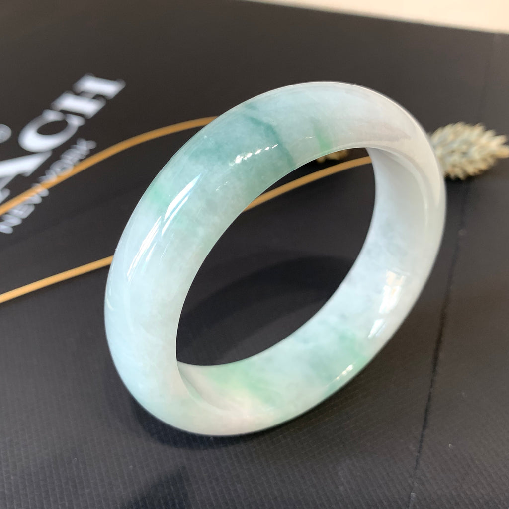 52.4mm A-Grade Natural Floral Jadeite Modern Round Bangle No.151674
