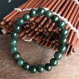SOLD OUT: 7.5mm A-Grade Type A Natural Dark Green Jadeite Jade Beaded Bracelet (22 pieces) No.190027