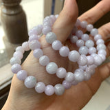 8.3 & 7.4mm A-Grade Natural Pink Lavender Jadeite Beaded Bracelet No.190263