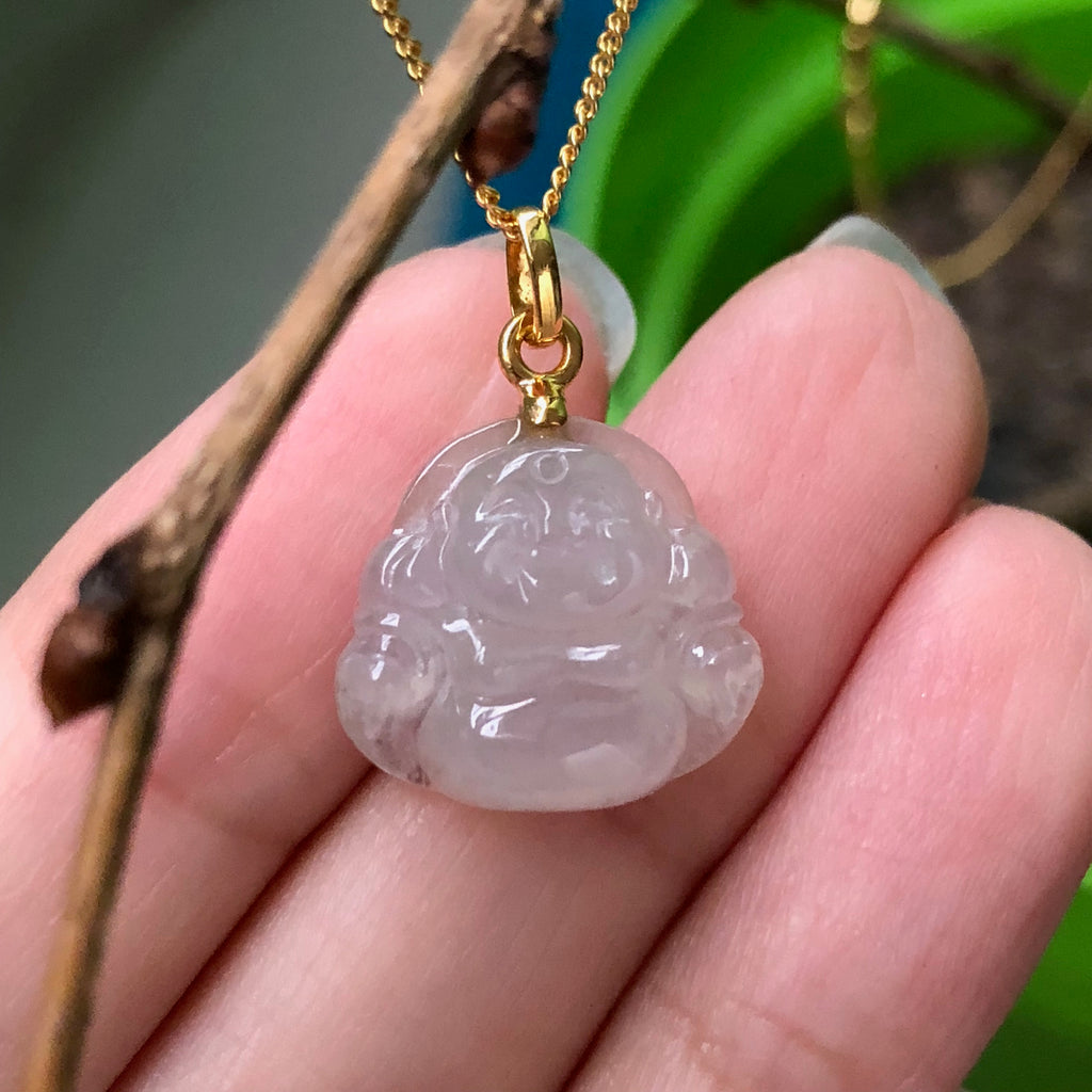 SOLD OUT : Icy A-Grade Type A Natural Jadeite Jade Mini Buddha Pendant (20k yellow gold oval bail) No.170472