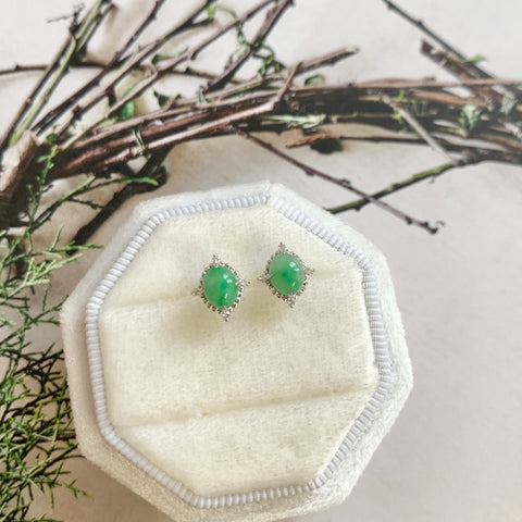 A-Grade Natural Moss on Snow Jadeite Earring Stud (18k White Gold and Diamonds) No.180307