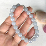 SOLD OUT: 8.8mm A-Grade Type A Natural Jadeite Jade Pearly Beaded Bracelet No.190097