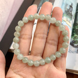 7.3mm A-Grade Natural Green Jadeite Beaded Bracelet No.190186