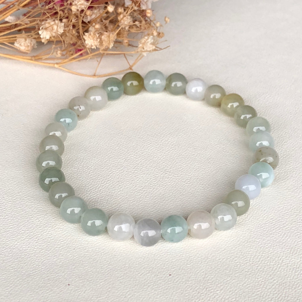 SOLD OUT: 7mm A-Grade Type A Natural Jadeite Jade Beaded Bracelet No.190098