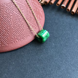 SOLD OUT: Imperial Green A-Grade Type A Natural Jadeite Jade Barrel Pendant No.170183